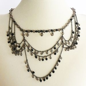 Jewelry - Smoky Beaded 90's Titanic Style Drape Necklace